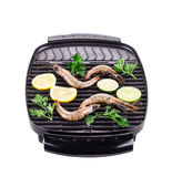 Fresh shrimps on a grill. Stock Image