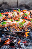 Fresh shrimps with lemon and parsley for grilling Royalty Free Stock Images