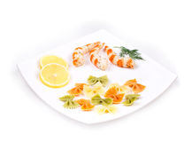 Fresh shrimps and pasta Royalty Free Stock Images