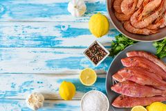 Fresh shrimps and red mullet fish on blue wooden background. With herbs and spices. Flat lay Stock Images