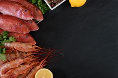 Fresh shrimps and red mullet fish on dark stone background. With herbs and spices. Flat lay Stock Images