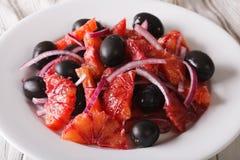 Fresh Sicilian orange salad with olives, onion and fennel. horiz Stock Image