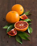 Fresh Sicilian oranges with leaves Royalty Free Stock Photography