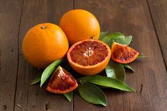 Fresh Sicilian oranges with leaves Stock Photography