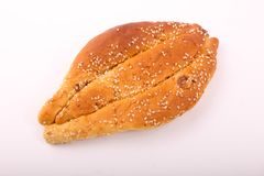 Fresh Simit top view. Simit with sesame on white plate on white background Stock Images
