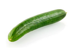 Fresh single cucumber. Isolated on white background stock photos
