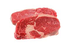 Fresh Sirloin steak, isolated on a white stock image