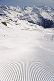 Fresh ski track at Soelden glacier Royalty Free Stock Image