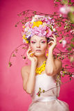 Fresh skin Girl with Spring Flowers on her head Royalty Free Stock Photos