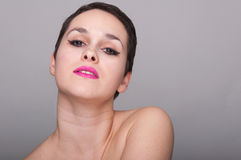 Fresh skin portrait of young woman in closeup Royalty Free Stock Photography