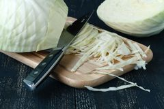Fresh slaw on wooden table. On table Royalty Free Stock Photo