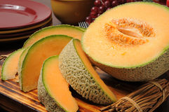 Fresh slice cantaloupe Stock Images