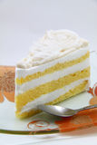 Fresh slice of coconut cream cake Stock Photo