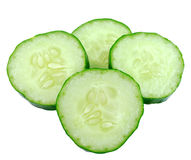 Fresh slice cucumber on white. Background Royalty Free Stock Images