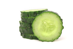Fresh slice cucumber. On white background royalty free stock photo
