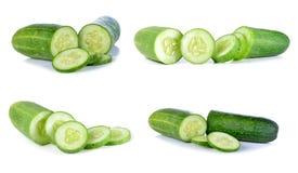 Fresh slice cucumber on white background.  Royalty Free Stock Photography