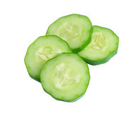 Fresh slice cucumber on white background Stock Images