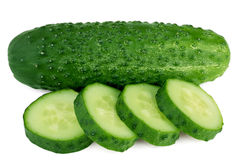 Fresh slice cucumber on white background Royalty Free Stock Photos