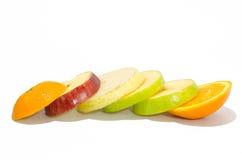 Fresh slice mixed fruits on white background Royalty Free Stock Images