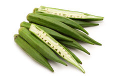 Fresh slice okra. On white background Stock Images