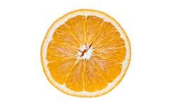 Fresh slice of orange. A round orange slice, isolated on white background Stock Photography