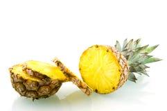 Fresh slice pineapple. Isolated on white background royalty free stock images