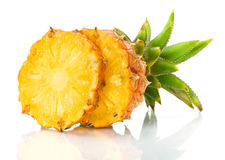 Fresh slice pineapple. On the white background Stock Photo
