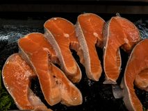Fresh slice salmon in ice basket. Ready to cook Royalty Free Stock Images