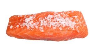 Fresh slice of salmon with sea salt. Fresh slice of  salmon with sea salt isolated on white background Royalty Free Stock Photography