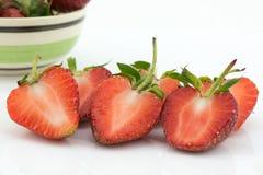 Fresh slice strawberry on white background Stock Images