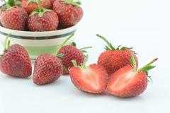 Fresh slice strawberry on white background Royalty Free Stock Photo