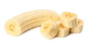 Fresh sliced banana isolated on white background. Healthy food royalty free stock image
