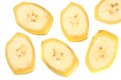 Fresh sliced banana isolated on white background. Healthy food. Top view royalty free stock image