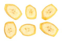 Fresh sliced banana isolated on white background. Healthy food. Top view stock photography