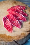 Fresh sliced beef hind shank on chopping board Stock Photography