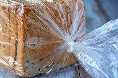 Fresh Sliced bread in a bag. Food background and texture with copy space Stock Photography