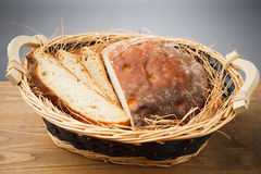 Fresh sliced bread. In the basket Stock Photography