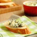 Fresh sliced bread with blue cheese.  Royalty Free Stock Photography