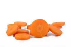 Fresh sliced carrots on white Royalty Free Stock Photography