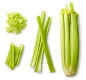 Fresh celery isolated on white. Fresh sliced celery isolated on white background. Top view royalty free stock images
