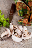 Fresh sliced champignons with parsley Royalty Free Stock Image