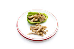 Fresh Sliced Chicken meat with Capsicum. On plate Royalty Free Stock Images