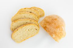 Fresh ciabatta bread on a white background royalty free stock photo