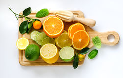 Fresh sliced citrus fruits copy space white background Royalty Free Stock Images