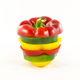 Fresh sliced colorful paprika Stock Photos