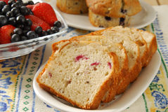 Fresh sliced cranberry bread Royalty Free Stock Image