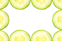 Fresh sliced cucumber frame. Stock Photo