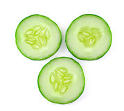Fresh sliced cucumber. On white background Royalty Free Stock Photo