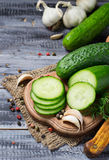 Fresh sliced cucumber on a wooden board Royalty Free Stock Photography