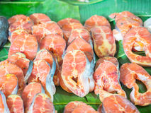 Fresh Sliced fish in the fish market. Selective focus, fish market, fresh sliced  fish on banana leaf in the street market Royalty Free Stock Photos